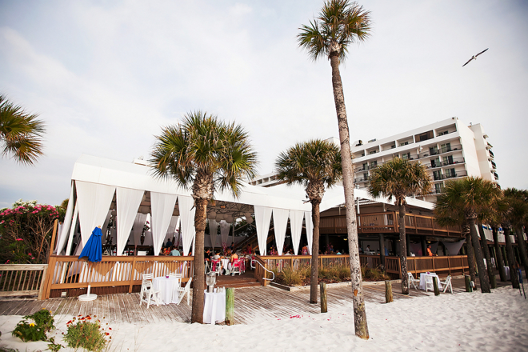 Tented, Outdoor Beachfront Wedding Reception on Deck at Clearwater Wedding Venue Hilton Clearwater Beach