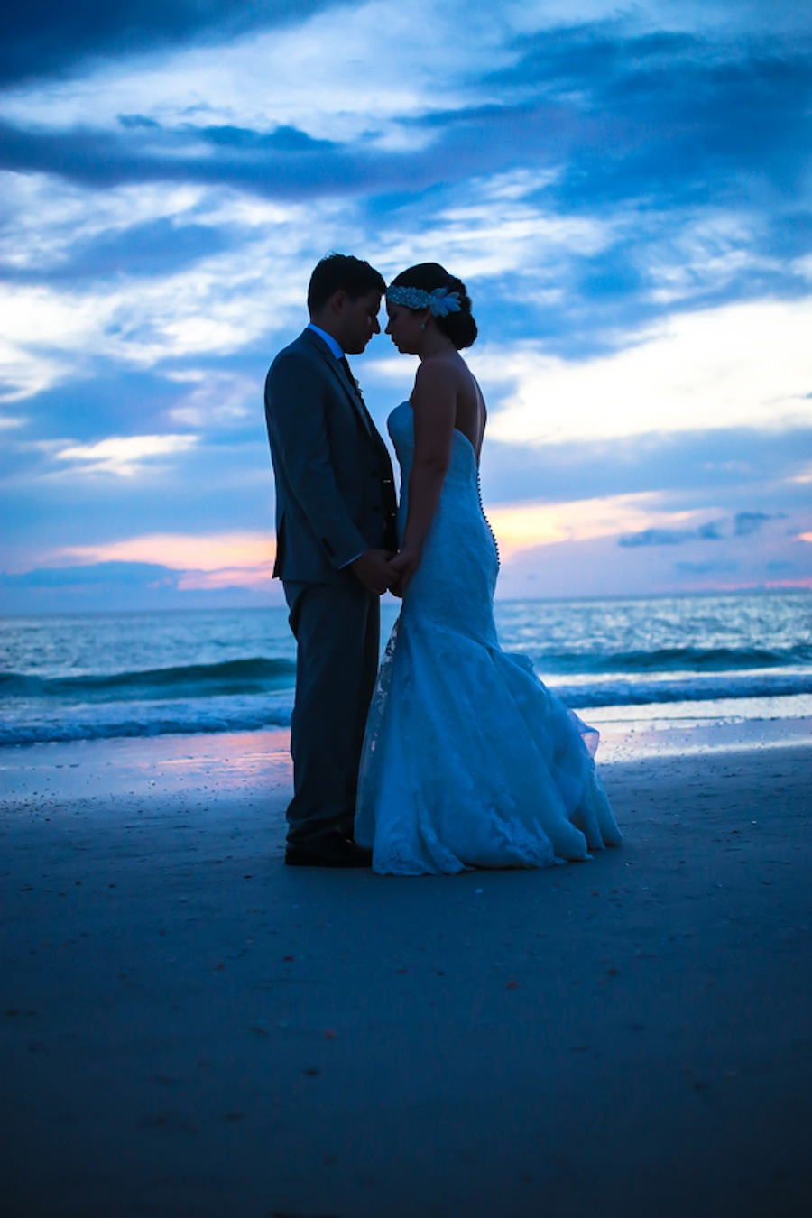 Clearwater Beach Bride and Groom Sunset Portrait