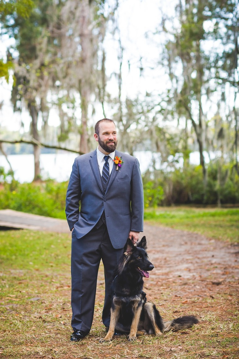 Wounded Service Veteran Groom Wedding Portrait with Service Dog