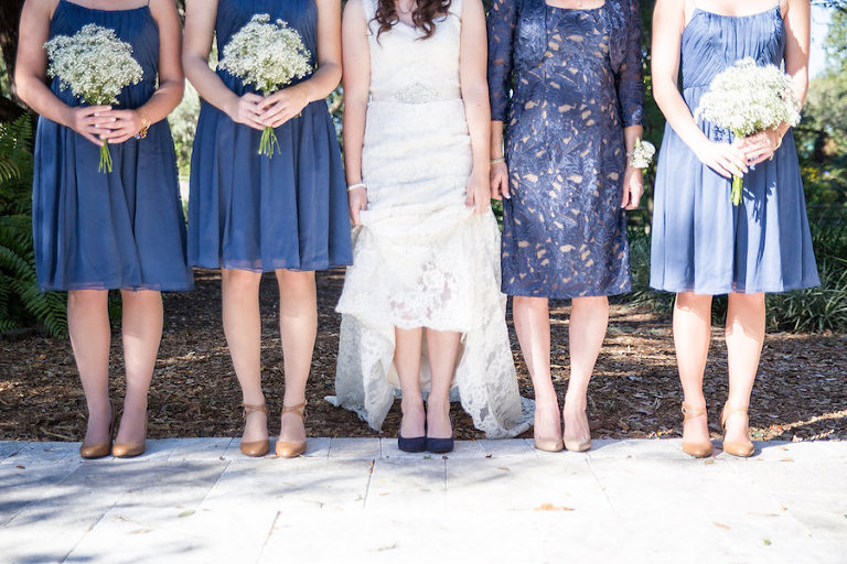 Navy Blue Anthropologie Bridesmaid Dresses | Rustic Tampa Bay Wedding