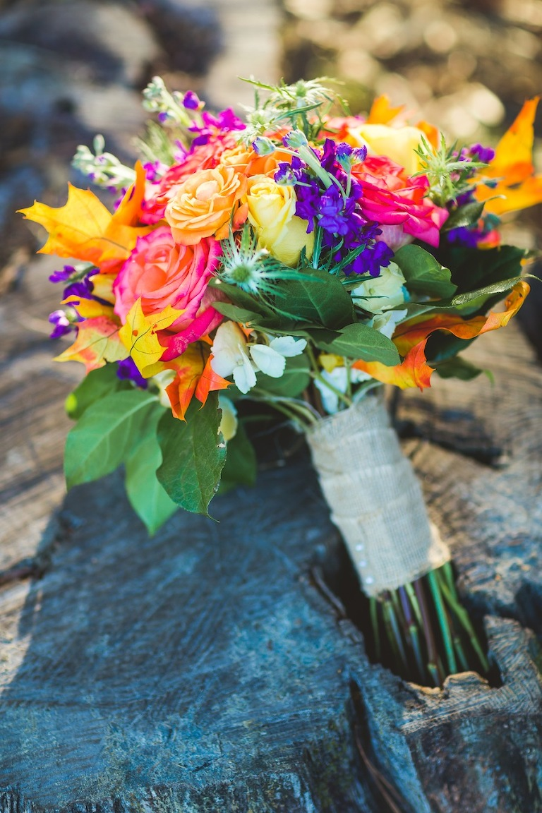 Pink, Orange and Purple Wedding Bouquet with Burlap Wrap