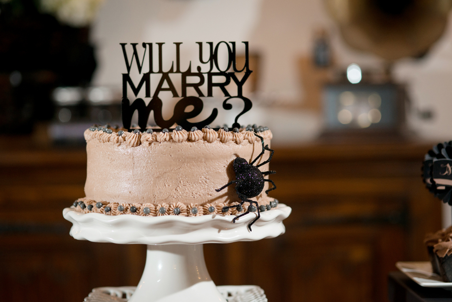 Halloween Inspired, Cream Wedding Cake with Spider and Black Will You Marry Me Cake Topper