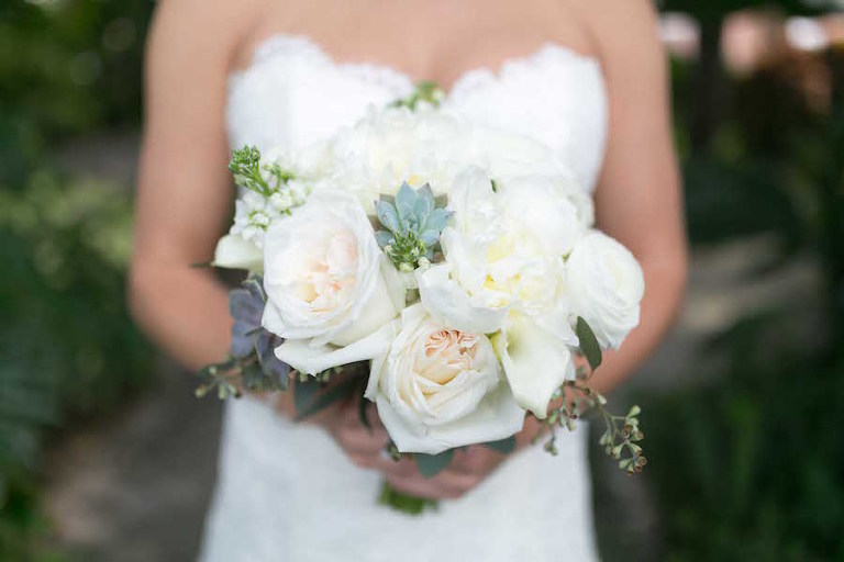 White Rose Wedding Bouquet with Succulents and Greenery | St. Pete Wedding Florist Wonderland Floral and Gift Loft
