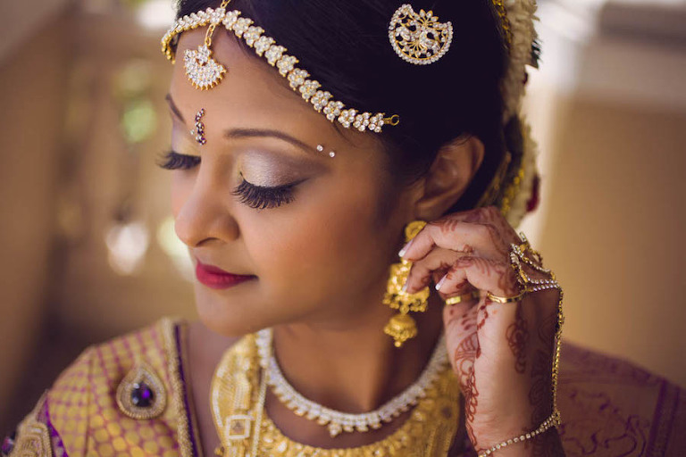 Indian Wedding Bride Henna with Gold Jewelry | Makeup and Hair: Michele Renee The Studio