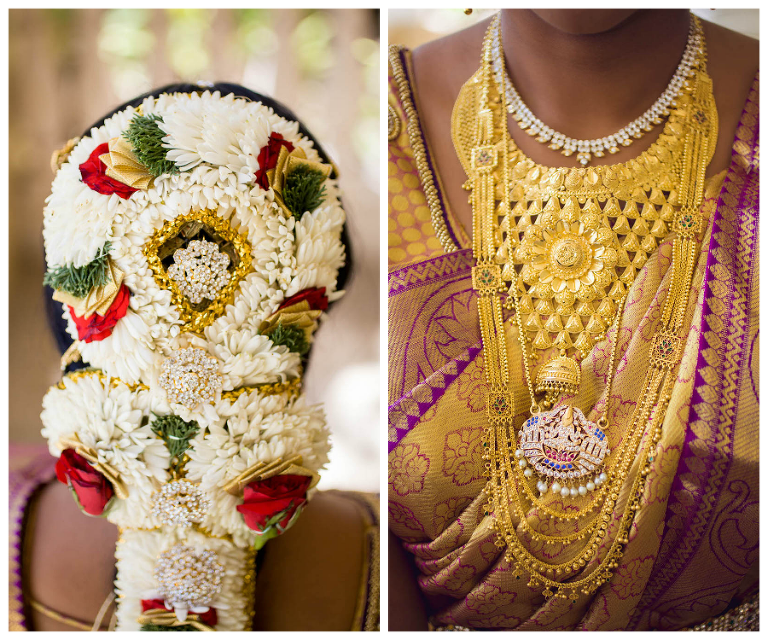 Indian Wedding Bride Floral Hair Arrangement and Gold Jewelry
