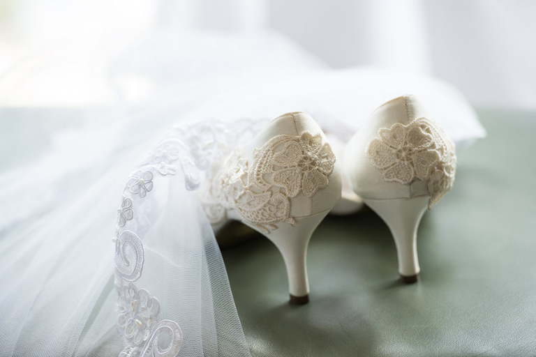 White Wedding Shoes With Lace Embroidery Detail and Draped Lace Veil | Tampa Wedding Photographer Jeff Mason Photography