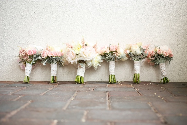 Pastel Pink and White Bride and Bridesmaids Wedding Bouquets