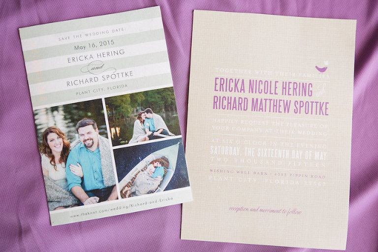 Purple and Tan Bird Wedding Invitation