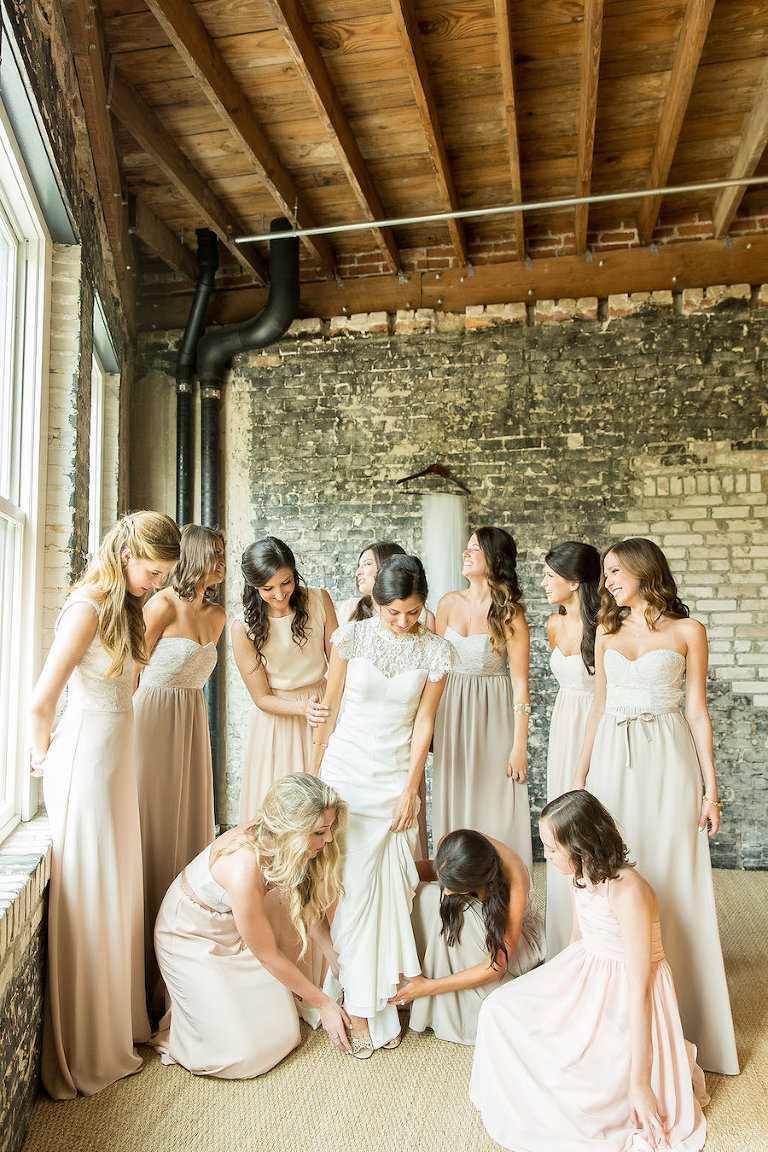 Neutral Beige Lauren Conrad Paper Crown Bridesmaids Dresses | Getting Ready With Bride
