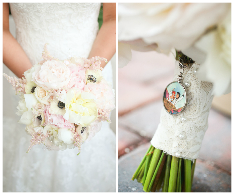 Pastel Pink and White Bride Wedding Bouquet with Disney Charm and White Lace