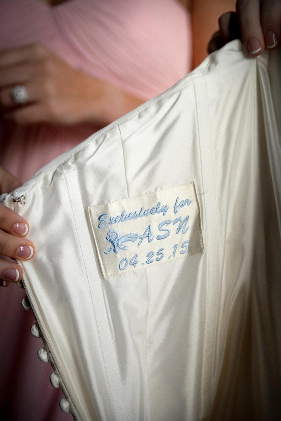 Wedding Dress Patch Sewn Inside Gown | Getting Ready Wedding Day Details