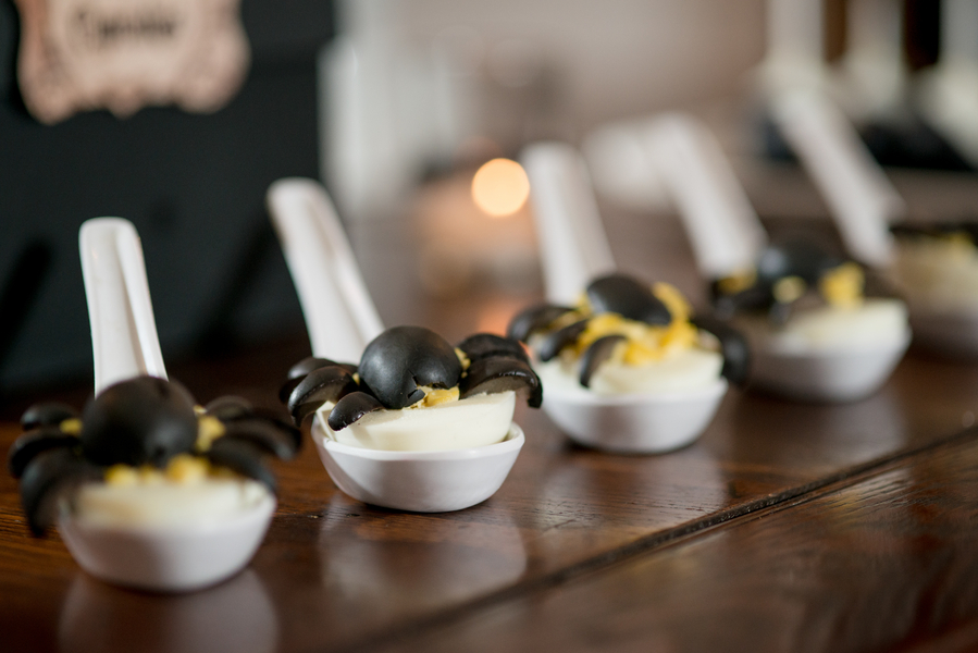 Halloween Inspired Deviled Eggs Appetizer with Spider Topper   Tampa Wedding Photographer Marc Edwards Photographs