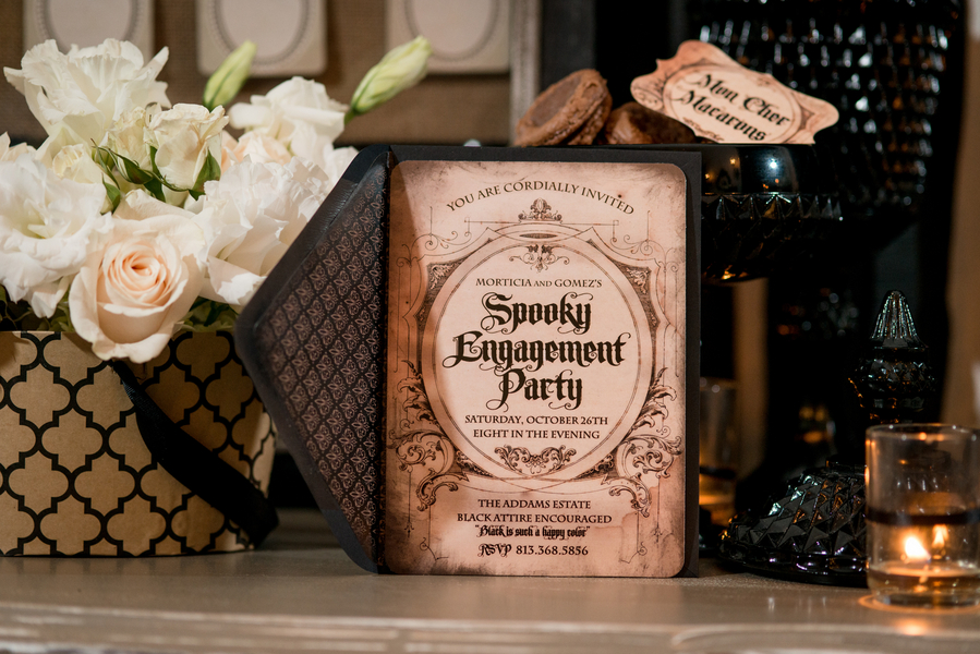 Black and White, Halloween Inspired Spooky Engagement Party Invitation   Tampa Wedding Photographer Marc Edwards Photographs