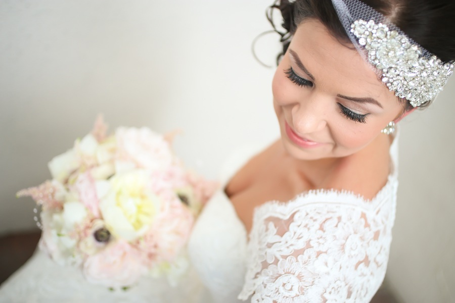 Vintage Lace Wedding Bridal Portrait with Pastel Pink Wedding Bouquet
