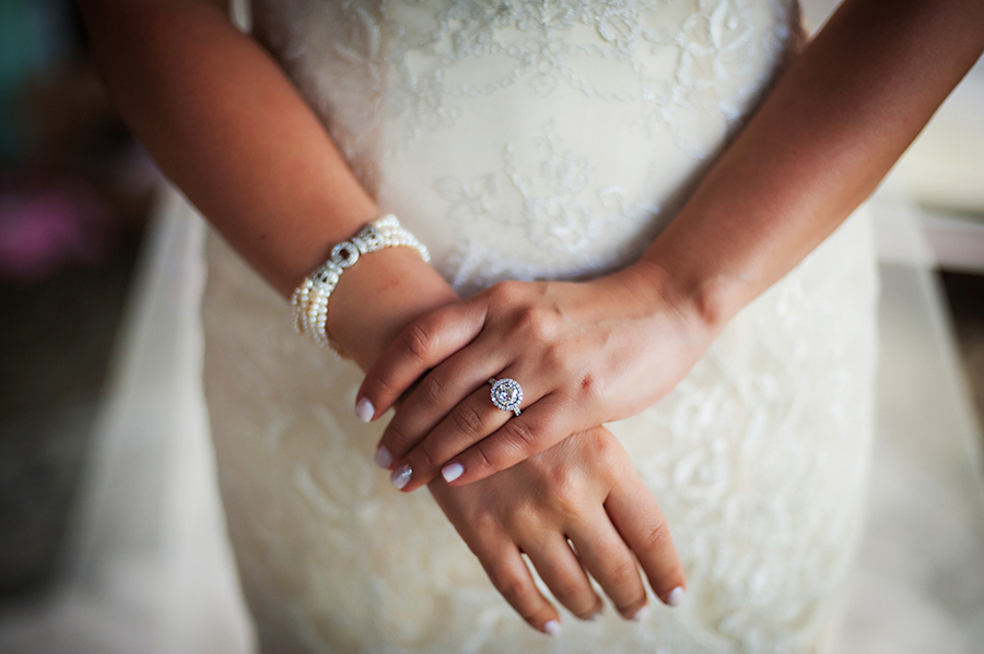 Bridal Wedding Pearl Bracelet and Engagement Ring