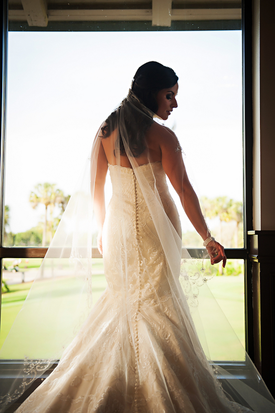 Bridal Wedding Portrait with Long Chapel Veil | Countryside Country Club