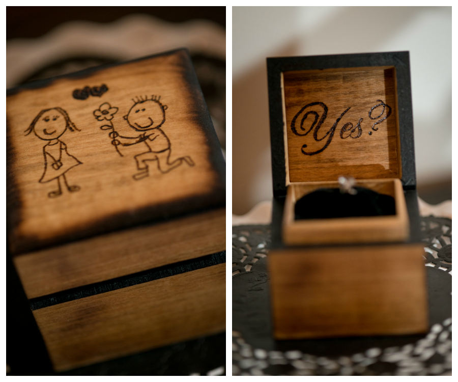 Wooden Engagement Ring Box with Cartoon Drawing of Wedding Proposal