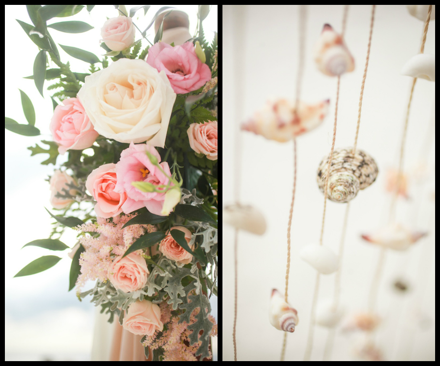 Clearwater Beach Wedding Ceremony Seashell and Pastel Pink Floral Decor