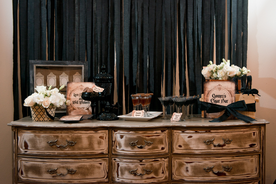 Dark, Black, White, and Brown Halloween Inspired Drink and Cigar Bar with Brandy