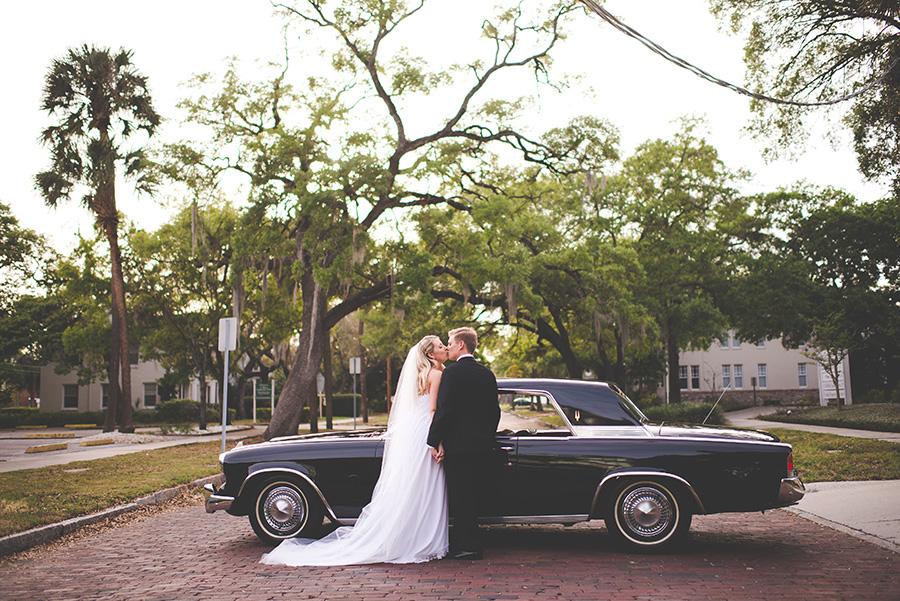 Outdoor, Bride and Groom Wedding Portrait with 1962 Studebaker GT Hawk Classic, Vintage Car