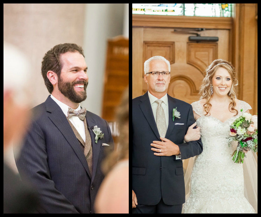 Groom's Reaction to Seeing Bride Walking Down the Wedding Aisle | Bride and Dad Walking Down the Aisle | Tampa Wedding Photographer Rad Red Creative