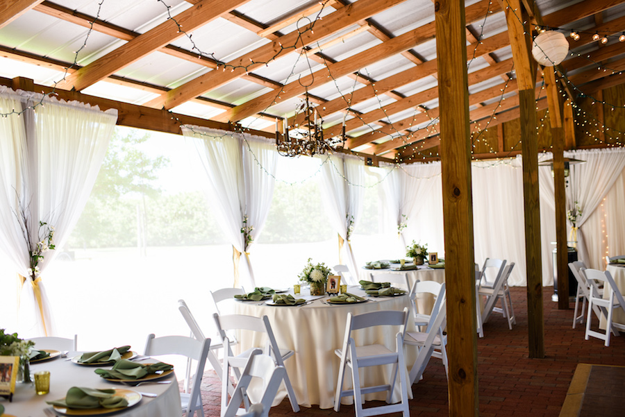 Outdoor Barn Wedding Reception with String Lights | Rustic