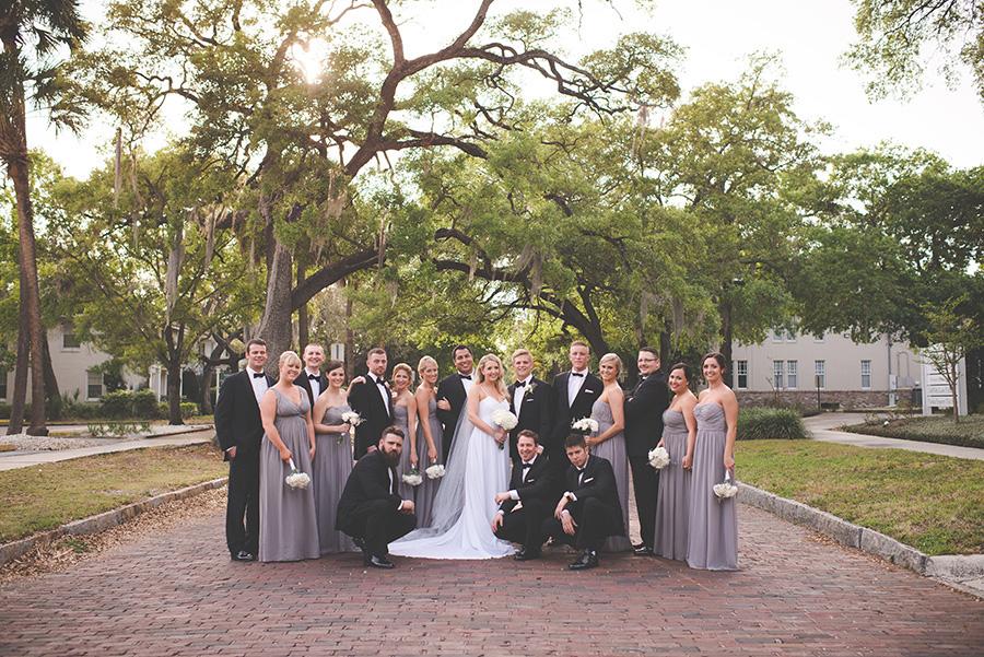 Tampa/Ybor City Outdoor Bridal Party Portrait on Brick Road   Grey Donna Morgan Bridesmaid Dresses