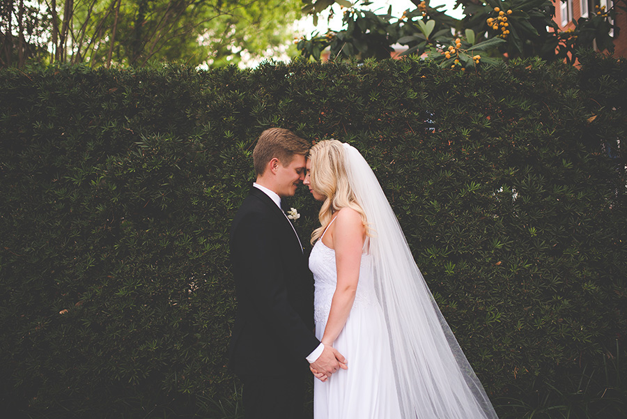 Outdoor, Tampa Bride and Groom Wedding Portrait with Veil