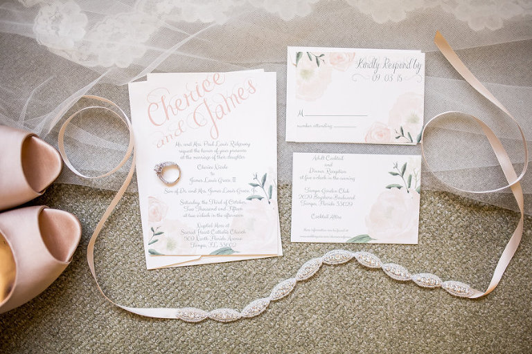 Soft, Romantic Ivory, Floral Accent Wedding Invitations with Rhinestone Wedding Belt