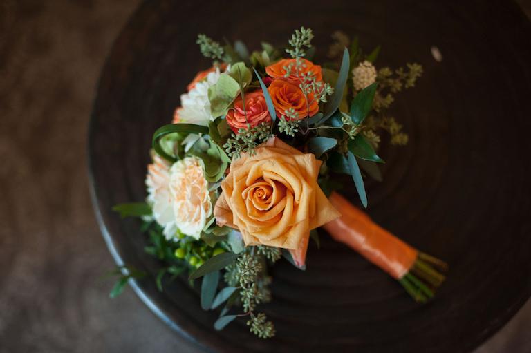 Orange and Ivory Rose Wedding Bridal Bouquet | Tampa Wedding Florist Andrea Layne Floral Design