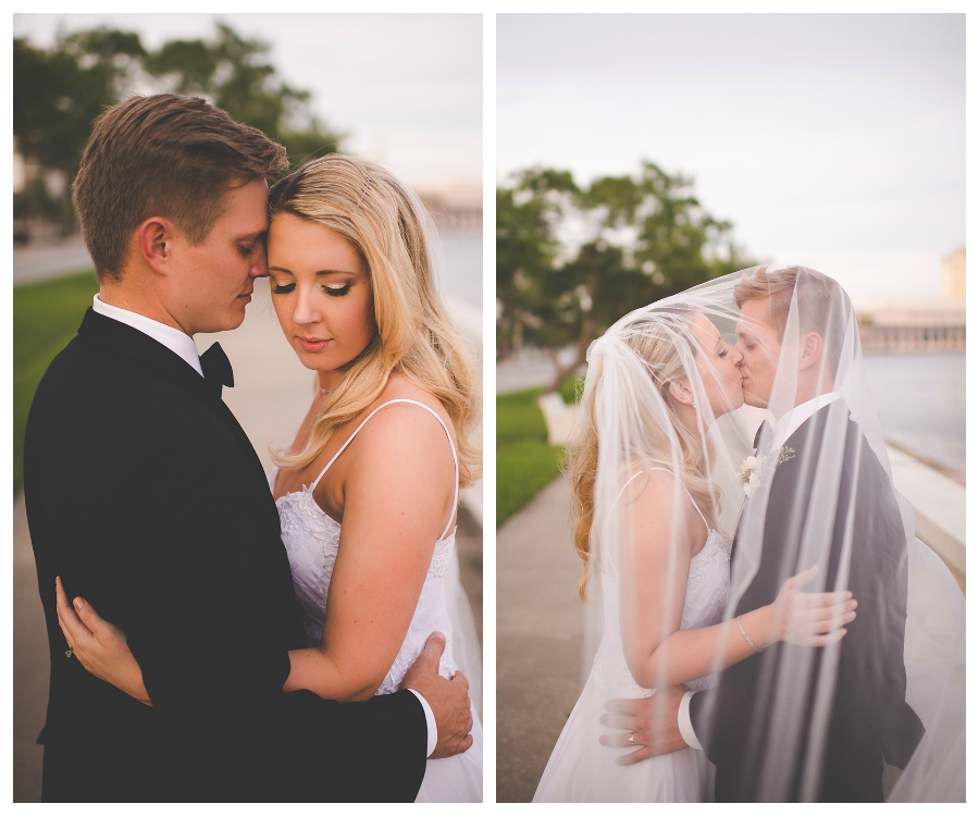 Outdoor, Tampa Bayshore Bride and Groom Wedding Portrait with Veil
