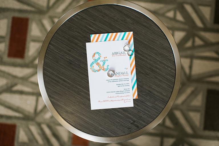 Turquoise Blue and Orange Wedding Invitation