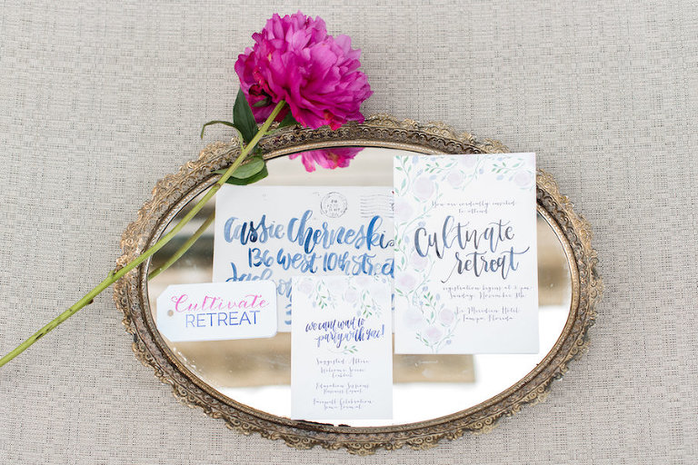 Cultivate Retreat Wedding Invitations with Watercolor Calligraphy