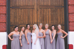 Bride and Bridal Party with Grey Donna Morgan Bridesmaids Dresses