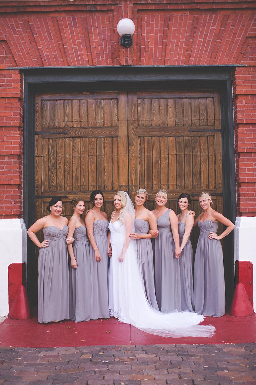 Bride and Bridal Party with Grey Donna Morgan Bridesmaids Dresses