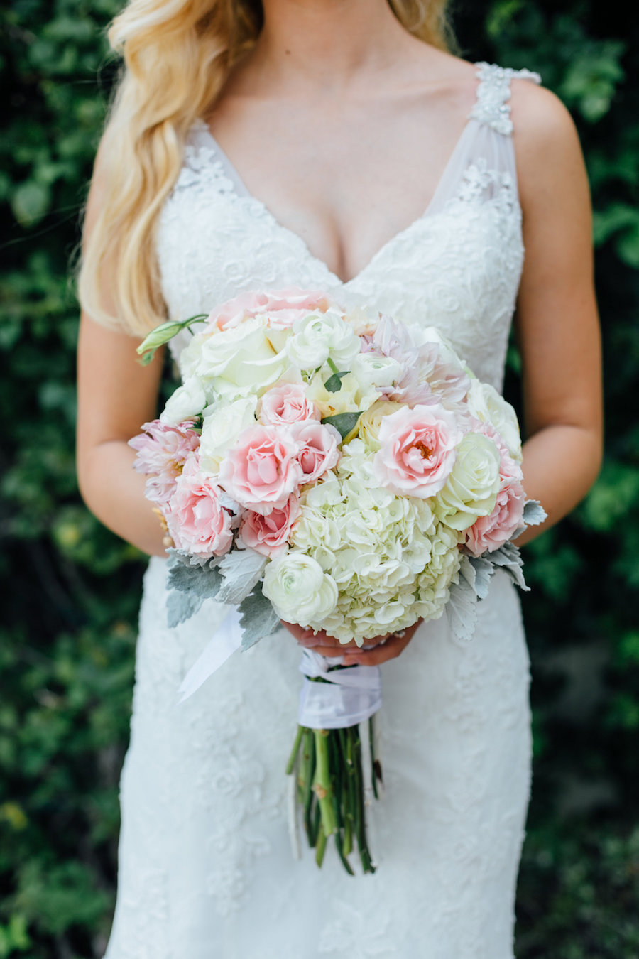 Lace Wedding Dress And Pink Rose And White Hydrangea Bridal