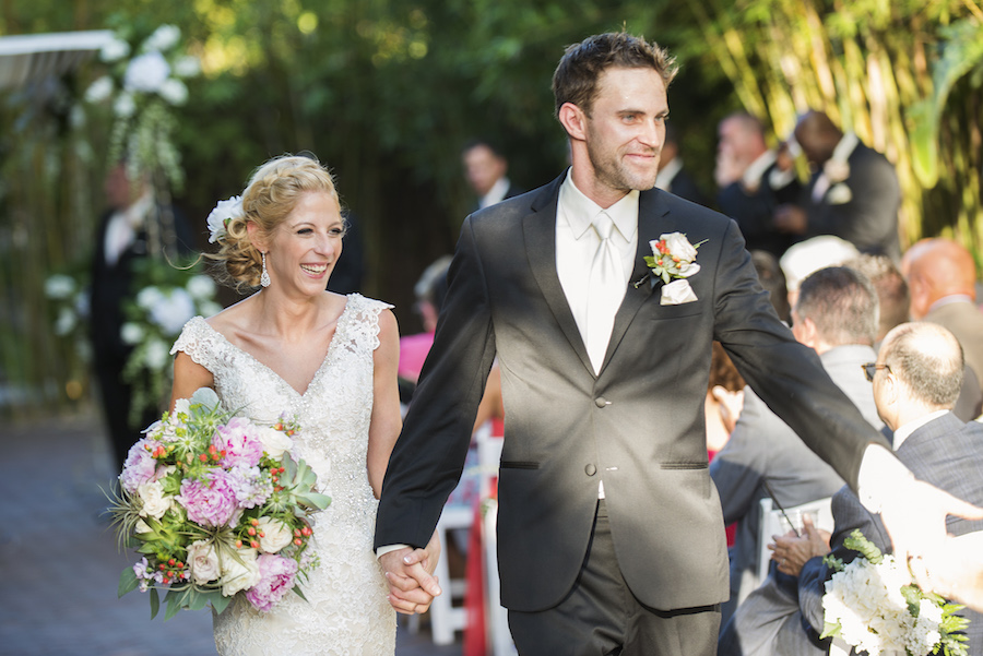 Bride and Groom Walking Down Aisle, Celebrating After Saying I Do