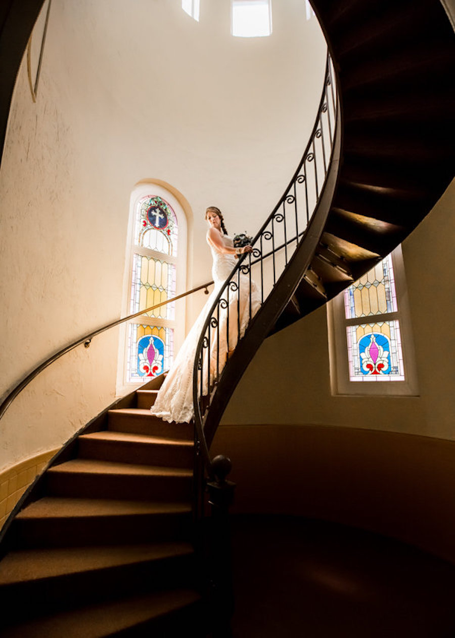 Bridal Portrait on Spiral Stairs of Church |Tampa Wedding Photographer Rad Red Creative