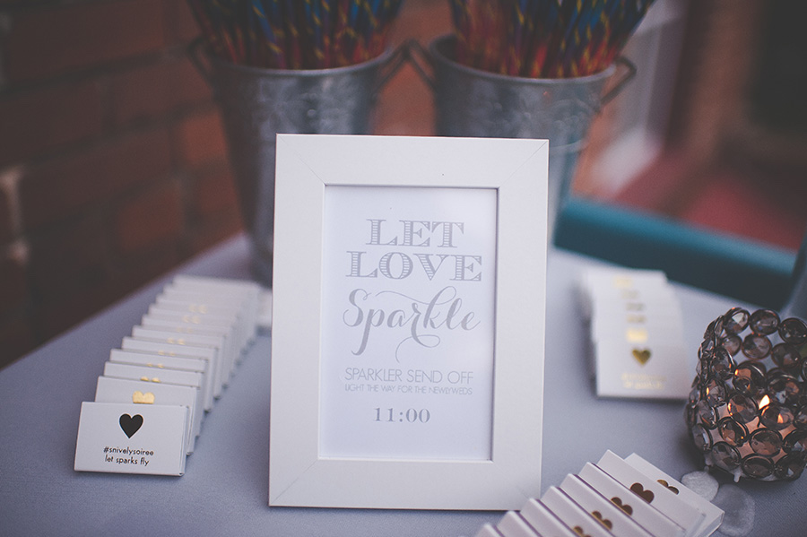 Wedding Reception Sparkler Send Off Table with Custom Matchbooks