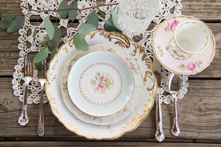 Vintage Dish Wedding Place Settings | Tampa Bay Vintage Wedding Rentals Ever After Wedding Rentals