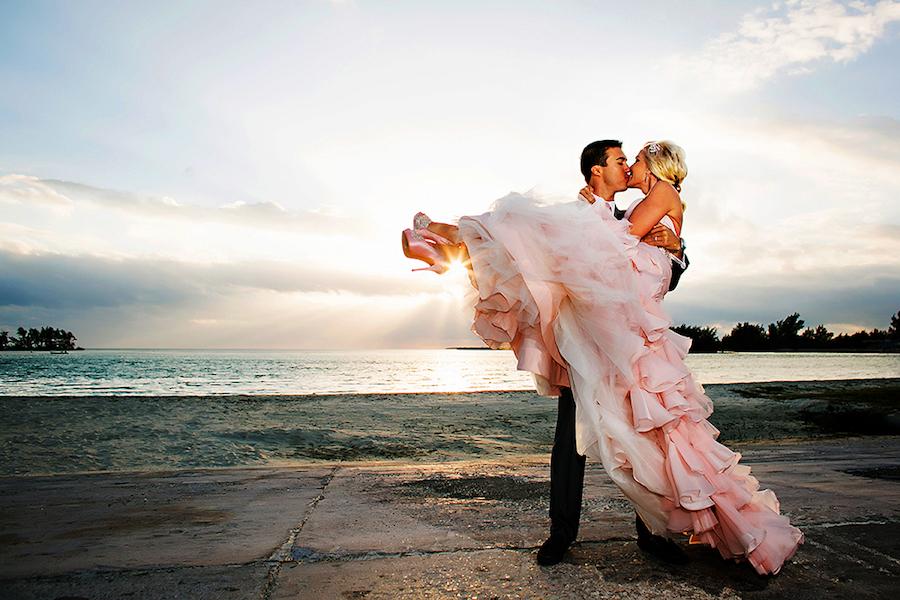 Waterfront Beach Wedding Bride and Groom Wedding Portrait | Tampa Bay Wedding Photographer Limelight Photography