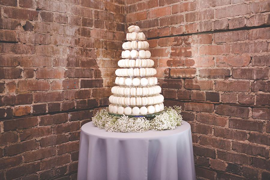 Wedding Reception White Macaroon Cake Dessert Table with Baby's Breath