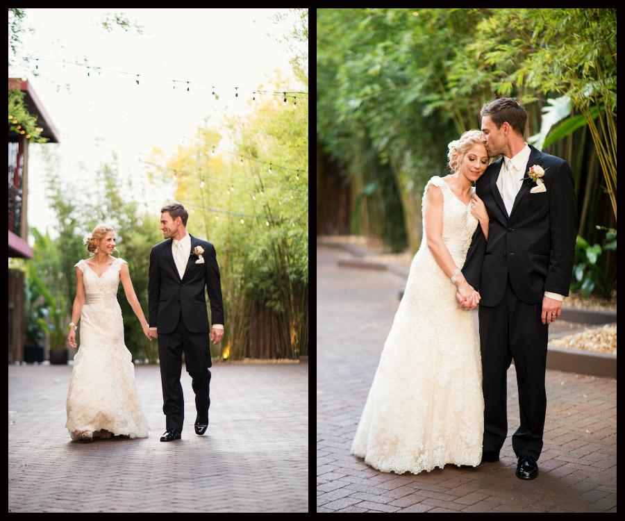 Outdoor Bride and Groom Wedding Portraits Holding Hands and Embracing in Bamboo Garden | St. Petersburg Wedding Venue NOVA 535