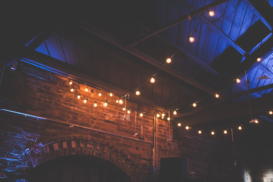 Nighttime Wedding Reception String Lighting   Modern, Unique Exposed Brick Tampa Wedding Venue CL Space in Ybor City