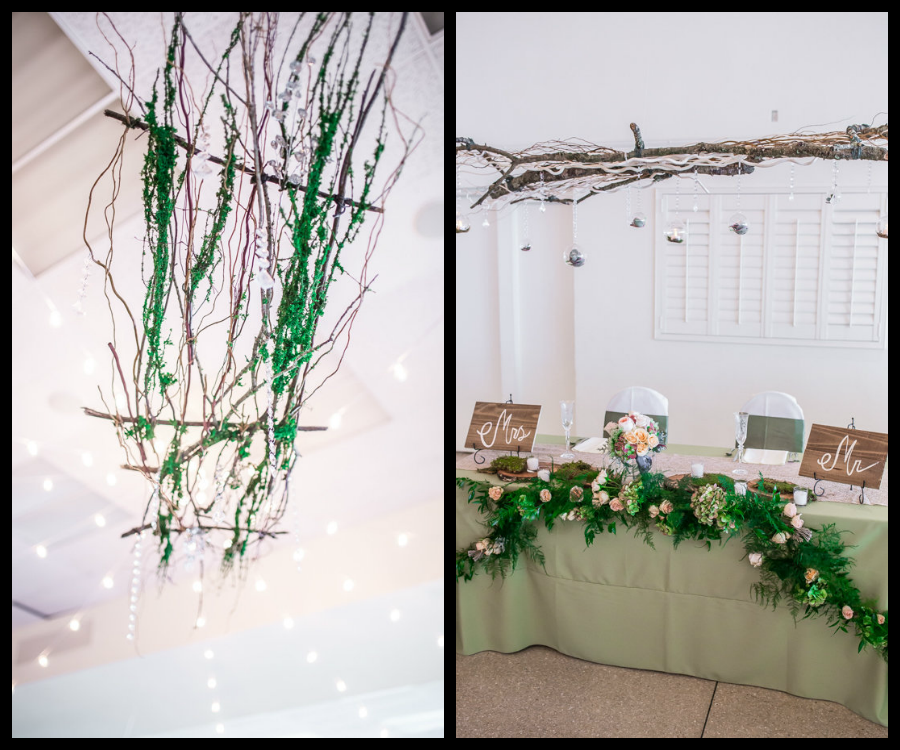 Rustic Bride and Groom Sweetheart Table at Wedding Reception, Twig/Branch, Green Garland and Floral Accents