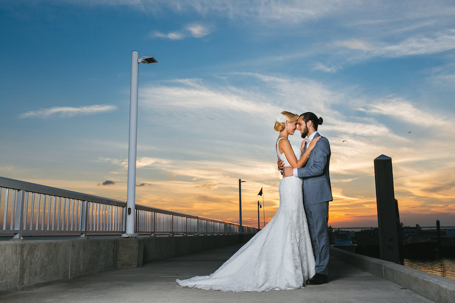 South Tampa Waterfront Wedding Bride and Groom Portrait at Sunset | Florida Wedding