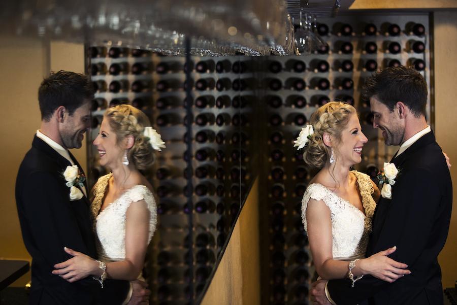 Bride and Groom Wedding Portrait Laughing, Mirror Reflection Wedding Portrait | Outdoor Bride and Groom Wedding Portraits Holding Hands and Embracing in Bamboo Garden | St. Petersburg Wedding Venue NOVA 535