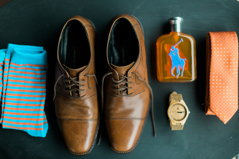 Brown, Groom's Shoes with Turquoise Blue and Orange Striped Socks and Orange and White Polka Dot Tie