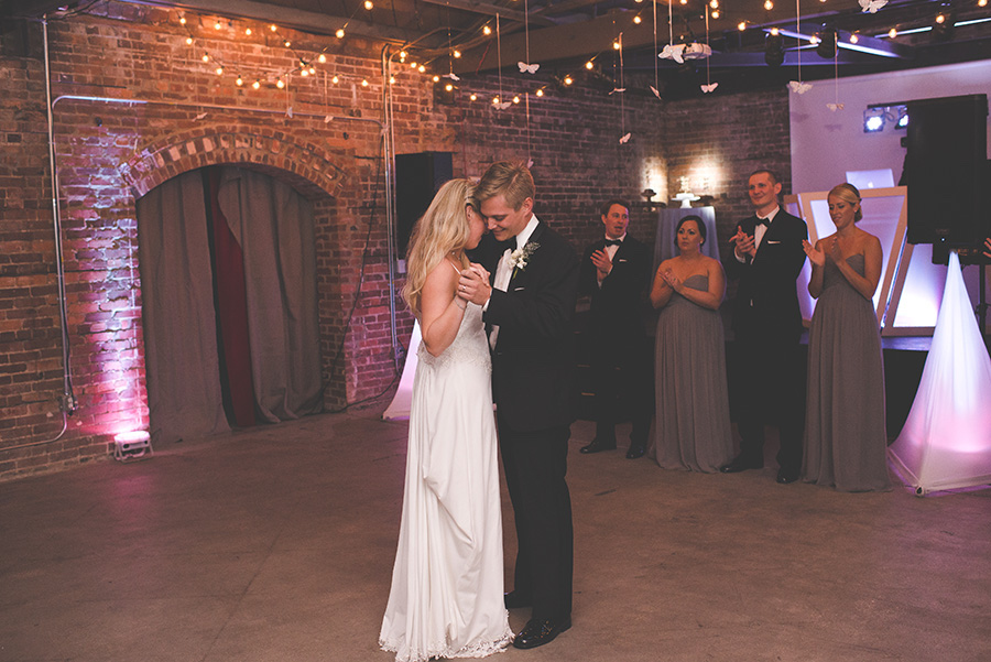 Tampa Wedding Reception Bride and Groom First Dance   Modern, Unique Exposed Brick Tampa Wedding Venue CL Space in Ybor City