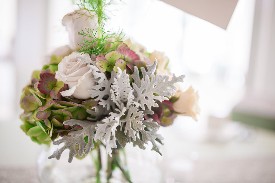 Vintage, Rustic White Rose Floral Centerpiece with Lamb's Ear accents and Green Leaves